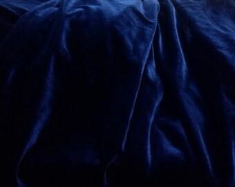"""Navy Blue Velvet Fabric By the Yard, Width 57"""", Midnight Blue Velvet Material"""