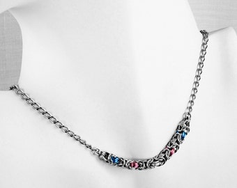 Transgender Pride Necklace - Trans Necklace - LGBT Pride - Byzantine Aluminum Chainmaille Small Necklace - Handmade Chainmail Pride Jewelry