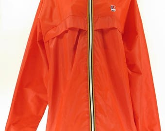 Vintage 90s K Way Red Rain Jacket Women 8 Deadstock Canada Made [H33F_0-11]