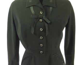 Vintage 50s Gabardine Jacket Womens M Laced Black Rockabilly [H66D_1-12]