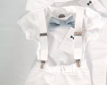 Baby boy Baptism outfit white onesie, suspenders and matching white/blue or grey bow tie and shorts
