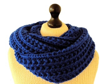 Blue Infinity Scarf, Blue Knit Scarf, Vegan Scarf, Winter Scarf, Women's, Men's Scarf, Royal Blue Circle Scarf,  Women's Gifts, Men's Gifts