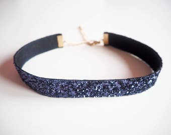 Navy Glitter Choker Necklace, Sparkly Blue Choker, Sparkly Navy Choker, Glitter Jewellery, Glitter Necklace, Sparkly Party Jewellery,