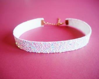 White Iridescent Glitter Choker, Sparkly White Choker Necklace, Iridescent Glitter Necklace, Iridescent Choker, White Rainbow Glitter,