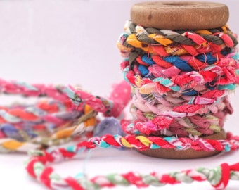 Recycled fabric scrap twine, fabric yarn, eco-friendly