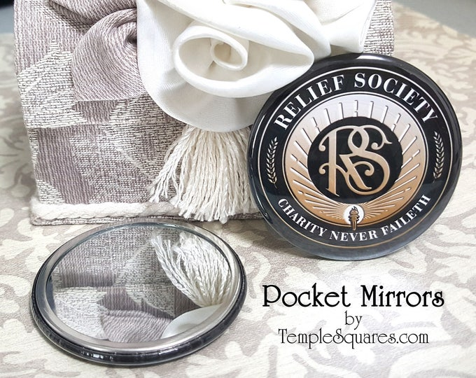 Relief Society Emblem Pocket Mirror Birthday Party Celebration Gift. YW Graduation Gifts, Visiting Teaching, Missionary Gifts with RS Symbol