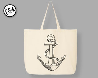 ANCHOR. Nautical Reusable Grocery Tote.