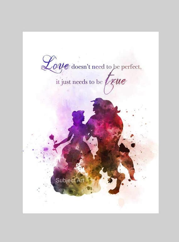 Super Beauty and the Beast Quote ART PRINT illustration Disney OU25
