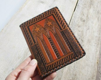 Leather Notebook, Vintage Notepad, Small Gift, Medieval Estonia Tallinn Hand Made Diary, Embossed Pocket Size Memo Book