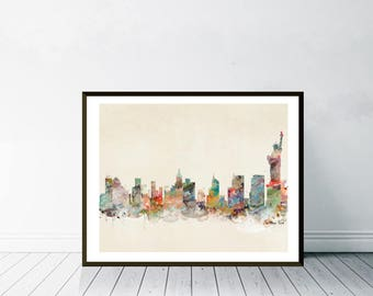 new york city. new york skyline.new york cityscape. colorful watercolor skyline's. Giclee art print.color your world with bri.