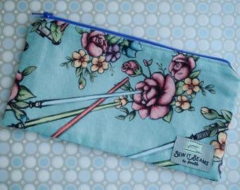 Floral wars pink lining zipper pouch- medium