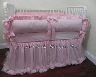 Pink Crib Bedding Set Irina - Baby Girl Bedding, Pink Baby Bedding