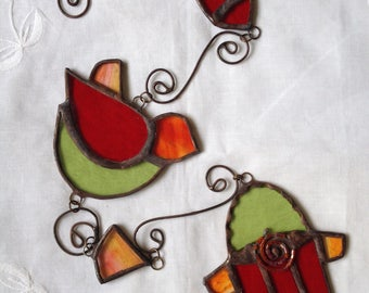 FISH,DOVE,HAMSA Moblie -Colors: Light Green,Orange and Red -Wall Hanging
