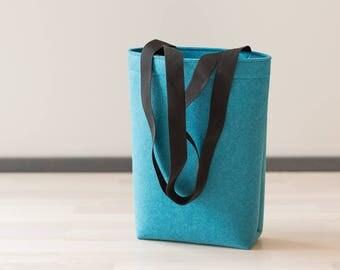 Felt Tote Bag with straps - turquoise felt