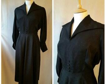 1940s Black Dress, Formal,  Smart Day Dress ,UK size 12 ,US size 10.