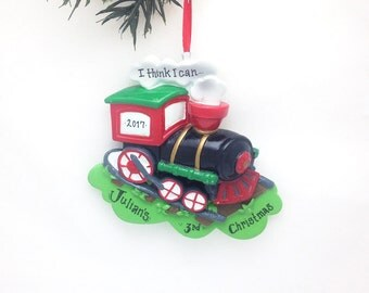 FREE SHIPPING Personalized Christmas Ornament - Santa Claus - Train - Custom Names or Message