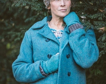 Double Breasted Peacoat in Turquoise Felted Pure New Wool by Crooked Knitwear