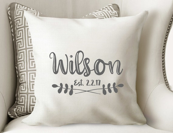 name pillow personalized pillow house warming pillow. Black Bedroom Furniture Sets. Home Design Ideas