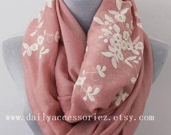 Pink Flower Scarf, Embroidered Floral Infinity Scarf, Spring Summer scarf, Womens Scarves, Gifts For Her, Handmade Scarf, Gifts For Mother