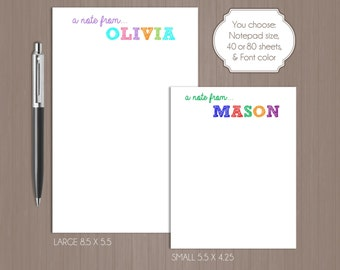 Sketched Name Notepad . Personalized Note Pad .  Note Pad . Large Notepad . Small Notepad . Boutique . Custom Notepad . Children's Notepad