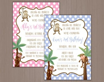 Monkey Invitation, Birthday Invitation, Calling all Monkeys, Jungle, Swinging Monkey, Wild, 1st, 2nd, 3rd, 4th, 5th, First, Printed, Digital