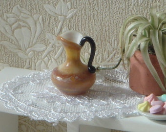 Dollhouse Miniature yellow glass decoration jar, 1:12 Miniature glassware decoration for Dollhouse.