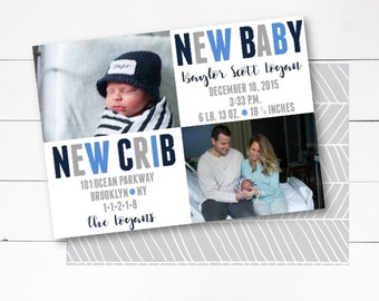 New Baby New Crib Announcement, Birth Announcement, Moving Announcement, Photo Birth Announcement, Customize, DIY or Printed