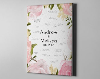 SALE 50% Off Canvas Guest Book, Sweet Floral Tree Signature GuestBook, Customized Anniversary Memento Gift Art, Bridal Shower Gifts - CGB50