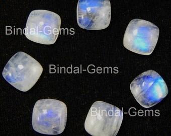 25 Pieces Rainbow Moonstone 5X5 MM Gemstone Cushion Cabochon