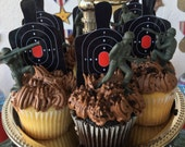 Target practice army military themed nerf gun cupcake toppers. Set of 12
