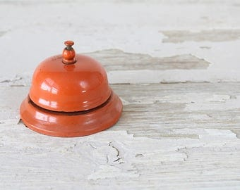 SALE !! -- Vintage Shop Counter Bell in Bright Orange from Pit Game