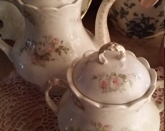Antique Limoges Tea Pot And Sugar Bowl