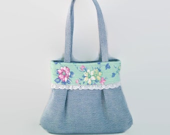 Toddler Young Girls Small Denim Purse Pastel Green Pink Floral and Vintage Trim Blue Jean Handbag Upcycled Recycycled Repurposed Little Girl