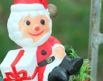 Christmas chimes Santa Claus Retro Kitschy Christmas 70's vintage plastic Christmas Door chimes Brass Bells mid century Holiday Cheer