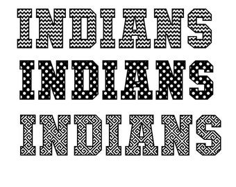Indians in 3 different cutout patterns for your Team Jersey SVG Studio Pdf PNG Eps