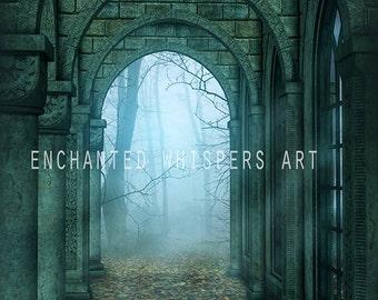 Instant download, digital background, castle background, archway backdrop, photography background, Gothic background, fantasy background