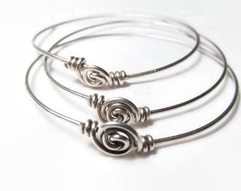 3 Stacking Bangles Set, Thin Bracelets, Solid Silver Bangles, Friendship Bracelets, Sterling Silver Bangles