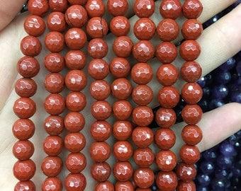 8mm Natural Red Jasper Beads, Gemstone Beads, Round Faceted Beads, Semi Precious Stone Beads 15''