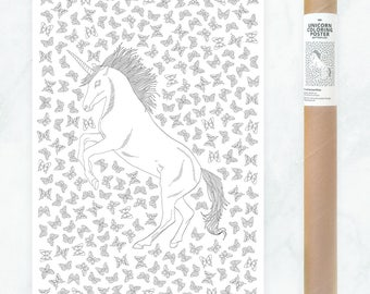 unicorn coloring poster - adult coloring page - adult coloring book poster - DIY unicorn poster to color in - zentangle coloring for adults