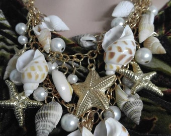 Shell,starfish and pearl necklace bracelet earring set,free shipping in the USA
