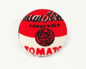 cambell's soup collar pin - pop art brooch - retro quirky fabric badge
