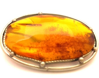 Amber Baltic Brooch Genuine Natural 5.64 Gr Golden Honey Stone German Silver Plated
