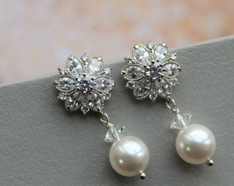 SALE Necklace and Earring set,  Bridal Earrings ,Wedding Earrings ,Bridal Jewelry ,Pearl  Crystal  Earrings ,Wedding Jewellery
