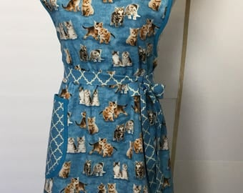 Kitten Apron - Blue Cat Apron - Womans Apron - Retro Looking Apron - Stylish Apron - Cooking Apron - Farm Apron - Full Apron - Vintage Apron
