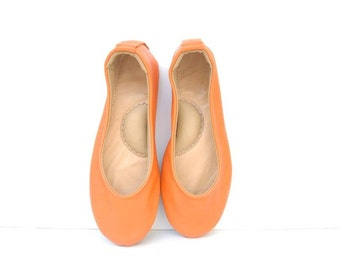 Handmade orange leather ballet flat shoes custom made