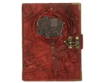 Elephant Pendant on a Red Refillable Leather Journal / Notebook / Handmade
