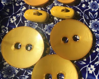 Vintage Yellow Celluloid Buttons Craft Collector Buttons