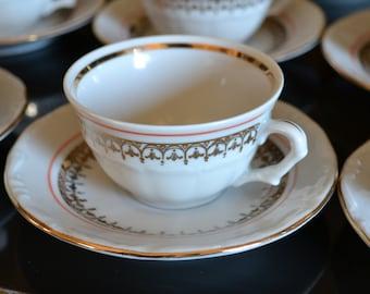 Polish WALBRZYCH/WAZBRZYCH fine bone china tea demitasse espresso set Cup Mug sip Poland Ikat curry Indian Moroccan Dish 17 piece set