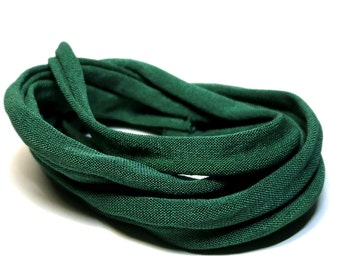 100% Silk Ribbon Elastic - Hand Dyed - Jersey - FORREST GREEN