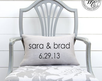 Personalized Wedding Gift, BURLAP PILLOW Cover, Pillow with First Names & Established Date, wedding pillow, farmhouse pillow